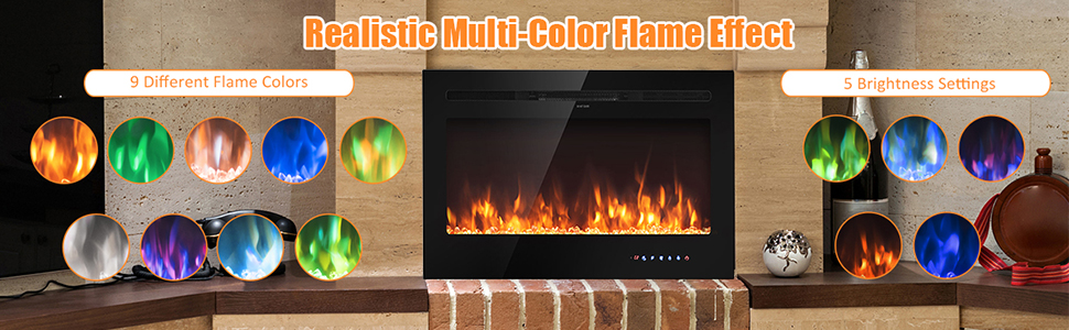 36 inch electric fireplace