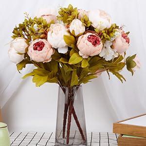 peach flowers flores para decorar pink peonies artificial flowers