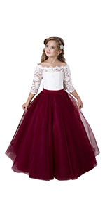 long sleeves girl ball gown