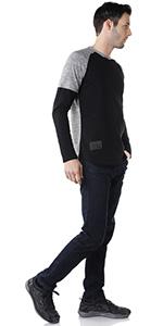 twofer raglan crew neck t-shirts