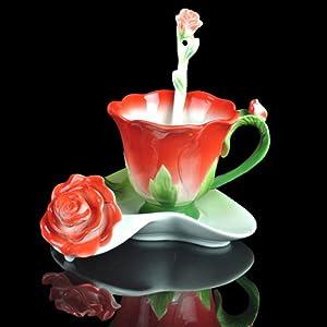 Red Rose Shape Design Tea Cup and Saucer Set