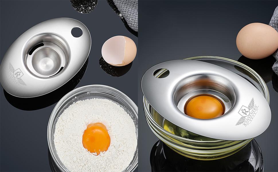 Separador de huevos RANSENERS, separador de filtro de yema de huevo y claras de huevo, herramienta para hornear de acero inoxidable para pasteles, ...