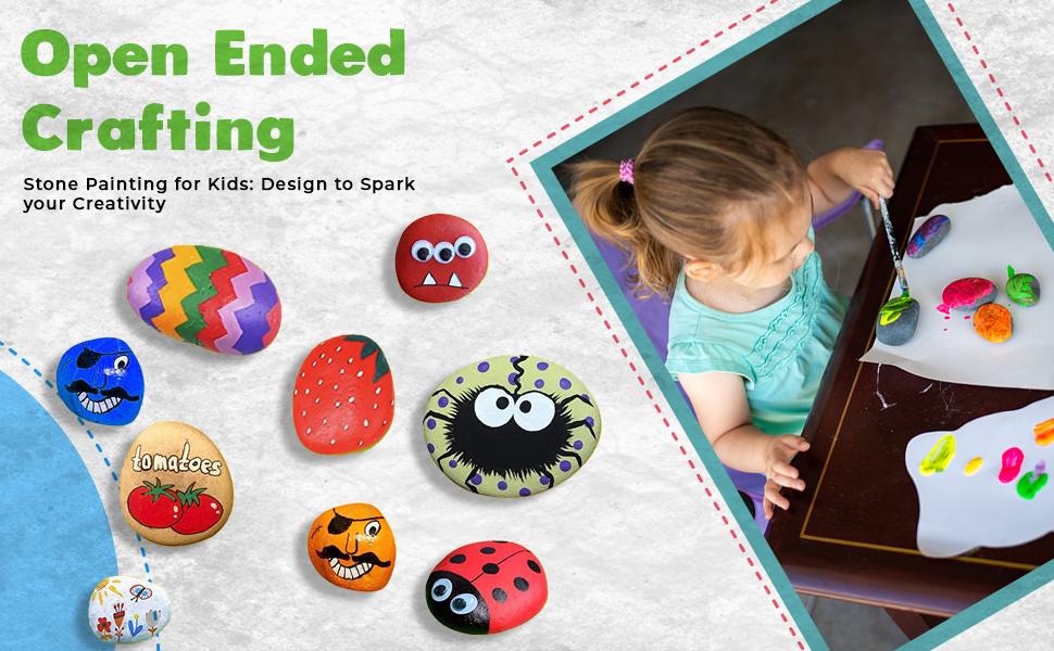 LIVYU LIFE SPN-BNB85C kids rock art kit indoor craft indoor above 4 years creative paint brush
