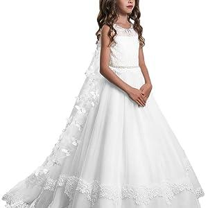 Flower Girl Dresses Sleeveless Tulle Little Kids Satin First Communion Dresses
