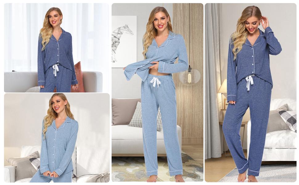 Ekouaer womens button down pajamas long sleeve sleep set