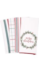 kitchen towel holiday christmas gift housewarming seasonal red green