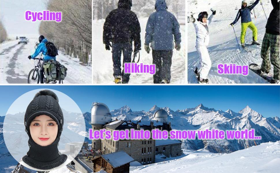Women Balaclava Visor One-Piece Skull Beanie Hat Neck Circle Scarf Ski Snow Winter Knit Fleece