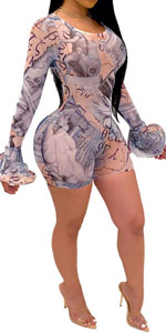Sexy One Piece See Through Rompers for Women