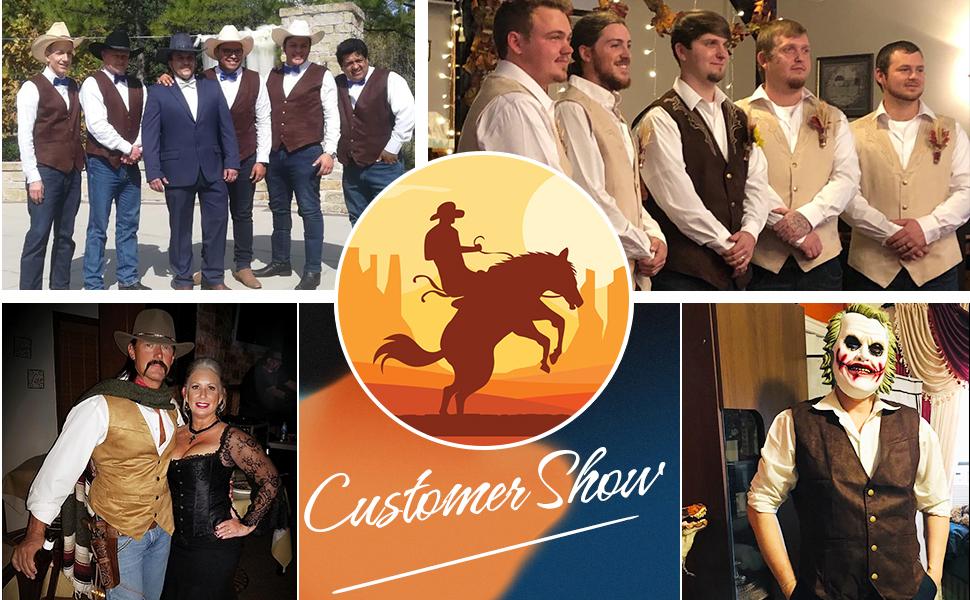 Men's Leather Suede Vest  Western Cowboy Outfits Cardigan