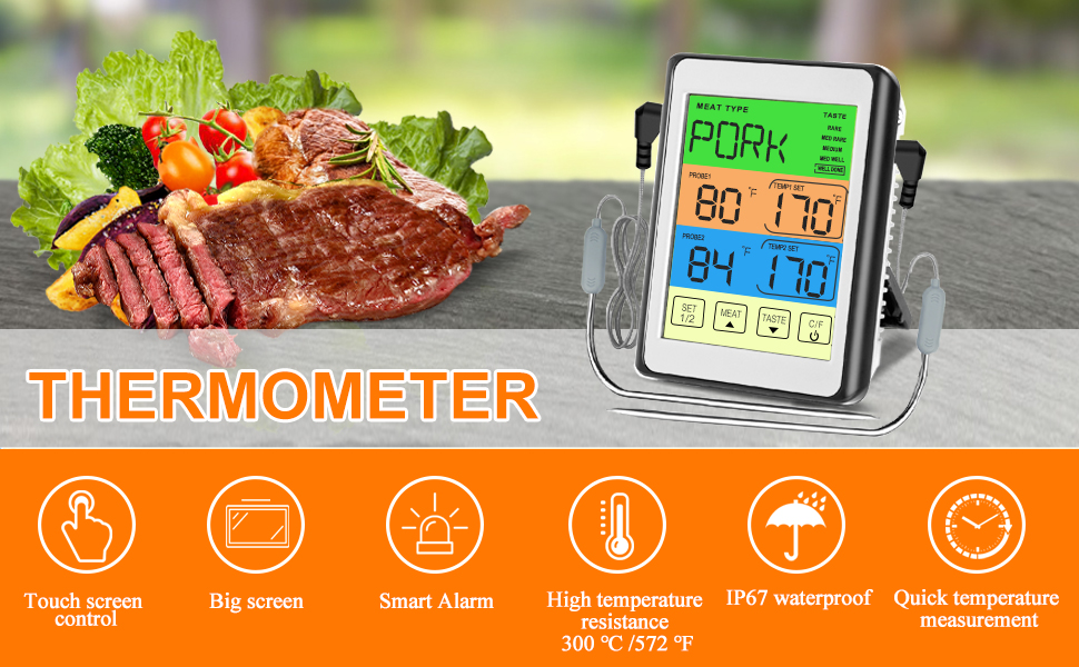 Cooking Food Meat Smoker Oven Kitchen BBQ Grill Thermometer Clock Timer with Stainless Steel Probe