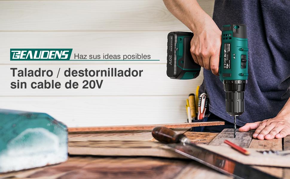 Taladro Atornillador 20V, BEAUDENS Taladro Sin Cable, 2 Baterías de Litio (2.0Ah), 2 Velocidades con 21 + 1 Posiciones par MAX 30 NM, 61 Accesorios, ...