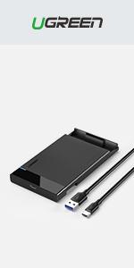 """UGREEN USB C Hard Drive Enclosure for 2.5"""" SATA SSD HDD"""
