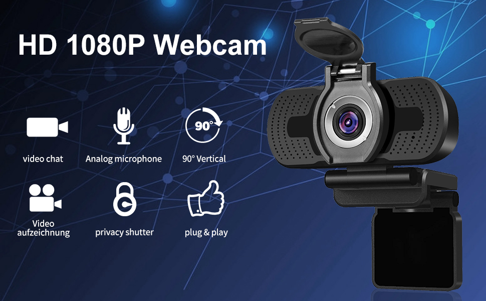 Dericam 1080P Full HD Live Streaming Webcam, USB Desktop y Laptop ...