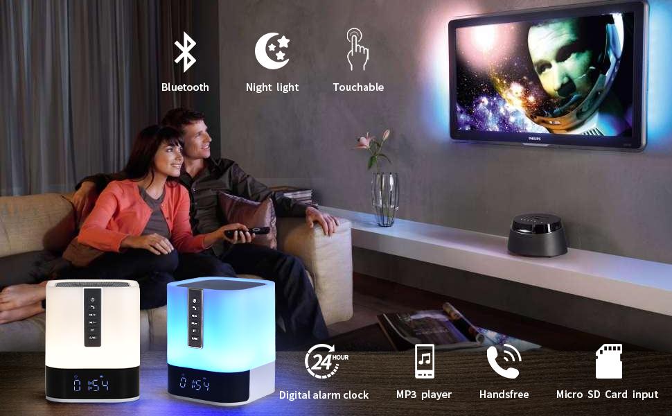 Alarm Clock Bluetooth Speaker for Bedroom