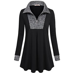 Timeson Women's Long Sleeve Quarter-Zip Lapel Tunic Top Plaid Pullover Sweatshirt