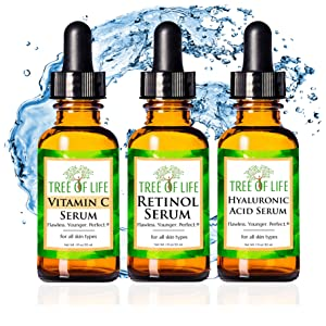 Vitamin C Serum Retinol Cream Hyaluronic Acid Moisturizer Face and Skin Anti Aging Face Skin Care