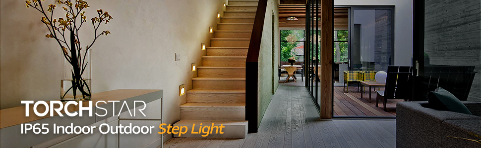 5 Years Warranty IP65 Waterproof ETL Listed Wall Mount Stair Light Pack of 3 TORCHSTAR Outdoor//Indoor Mini LED Step Light
