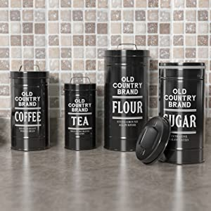 lifestyle photo for Kitchen Canisters with Lids Black Metal