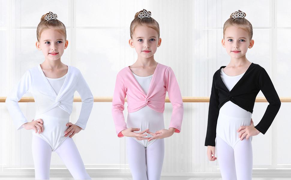 Blanco Negro Soudittur Chaqueta de Ballet Cruzada Algod/ón Top Corto de Ballet Manga Larga para Ni/ña Mujer en Rosa