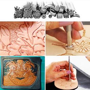 S SMAUTOP 27 Unids Herramientas de Tallado en Cuero Kits de Repujado de Cuero Herramientas de Trabajo Artesanal Herramienta para Hacer Silla de Montar para Trabajos Artesanales de Cuero