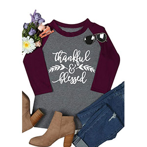 Women Grateful Thankful Blessed Print raglan 3/4 Sleeve Shirt Casual Thanksgiving Holiday Tee Top