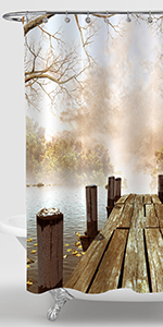 Rustic Lake Dock with Foggy Forest Shower Curtain