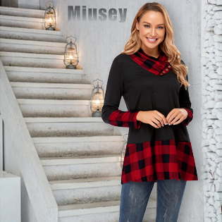 Miusey Womens Tunic Tops for Women to Wear with Leggings Super Comfy Softness Breanthable Stretchy
