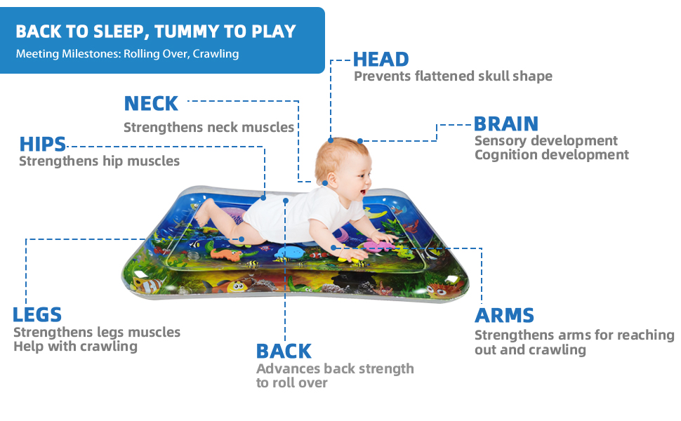 water toy baby tummy time inflatable mat