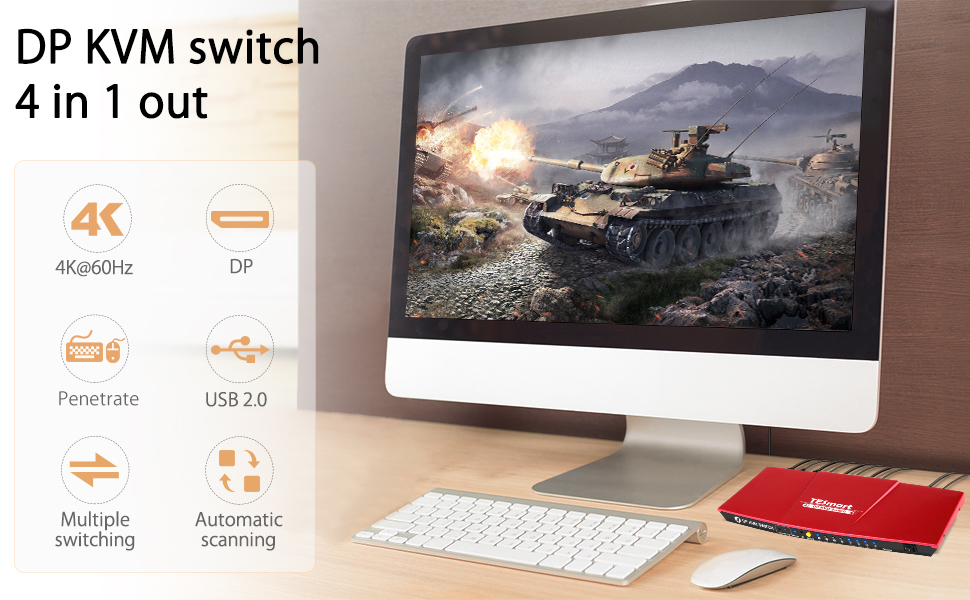 dp kvm switch 4 in 1 out