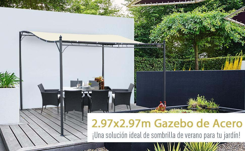 Outsunny Pérgola Gazebo Tipo Toldo de Pared Curvo para Jardín ...