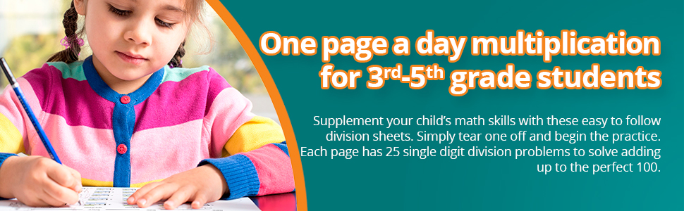 . Each page has 25 single digit division problems to solve adding up to the perfect 100.