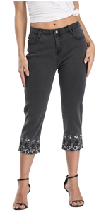 Women's Embroidered Mid-Rise Stretchy Capri Jeans