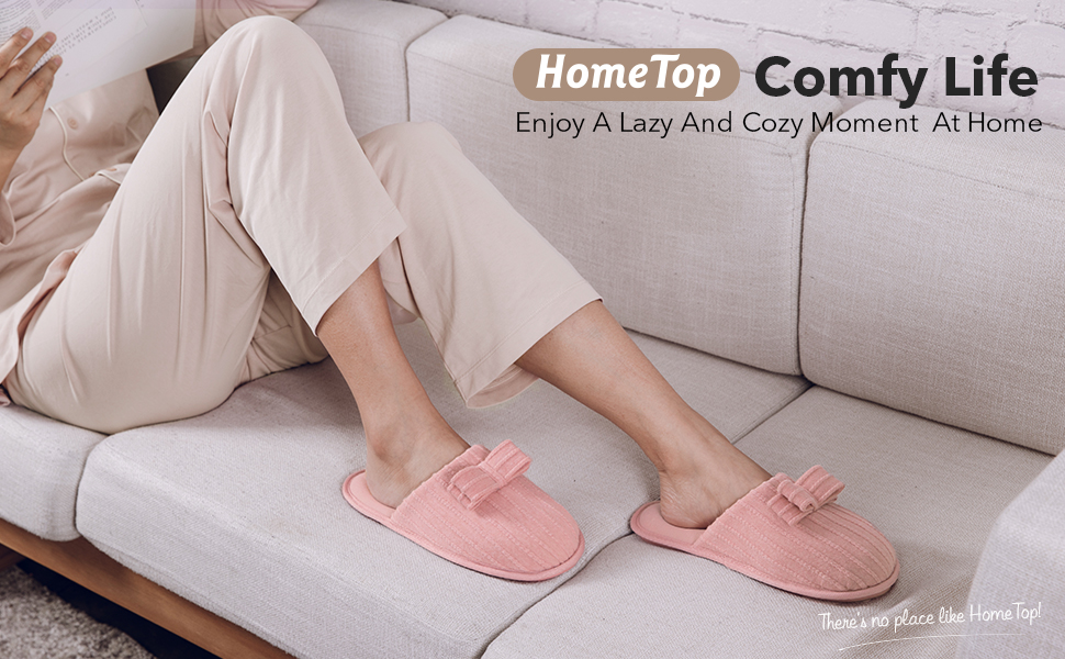 HomeTop Women's Comfy Cute Knit Memory Foam Bow Slipper with Soft Jersey Lining