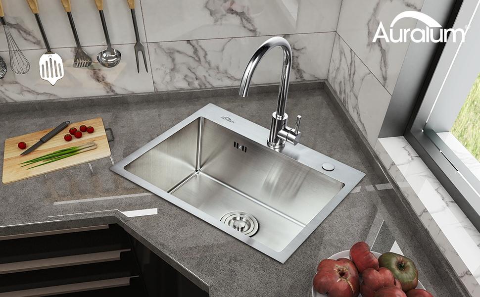 AuraLum Fregadero Cocina un Seno 55x45x22cm Sobre-Encimera, Cuadrado Fregadero de Cocina con Desagüe y Sifón, Acero Inoxidable Cepillado