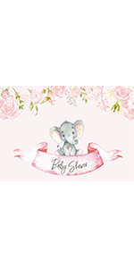 7x5FT Girl Backdrop Pink Flowers Little Elephant Background Photo Booth Banner