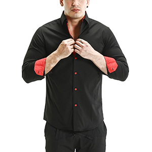 men's dress shirt regular fit button closure