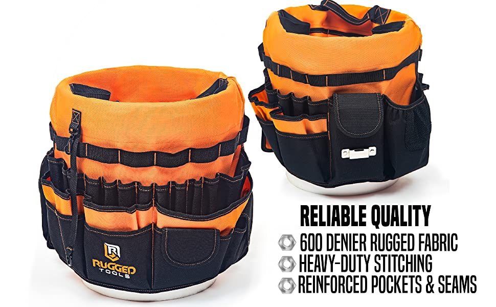 Rugged Tools heavy duty tool bag for home depot buckets 3.5 to 5 gallons gal g