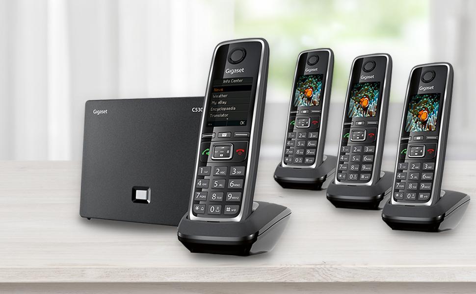 Gigaset German quality landline cordless phone ip sip quattro 4 phones set multi-pack