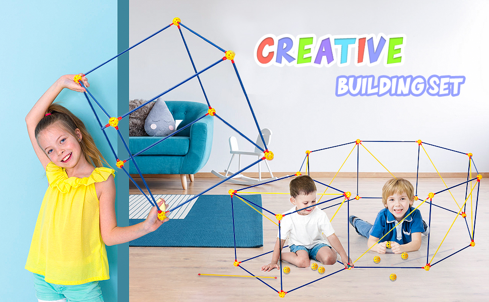 Fort Building Kits 120 Pcs Kids Construction Fort Play Tent with 10 Star Lights Fort Kit Fun STEM Toys Flexible Construction DIY Building Castles Tunnels Play Tent Rocket Tower Indoor /& Outdoor