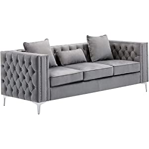 BOWERY HILL Lorreto Gray Velvet Sofa