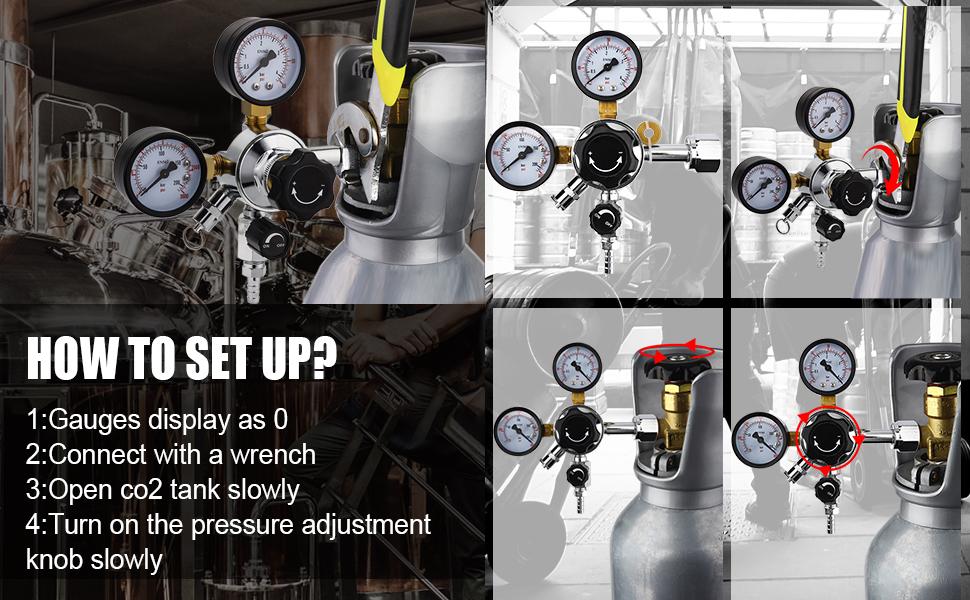 Kacsoo Regulador de Presi/ón de CO2 Regulador de Soldadura de CO2 de Calibre Doble para Cerveza de Barril Homebrew Kegerator V/álvula de Alivio de Presi/ón de Seguridad 0-3000 PSI Presi/ón de Tanques