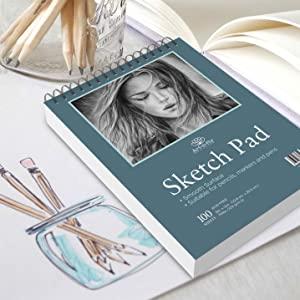 Penne e Pennarelli Blocco a Spirale per Schizzi Album da Disegno A5 Liscio Carta da Disegno Matite Colorate Disegno e Colorare Blocco Schizzi a 200 Fogli da Disegno 14 x 22 cm