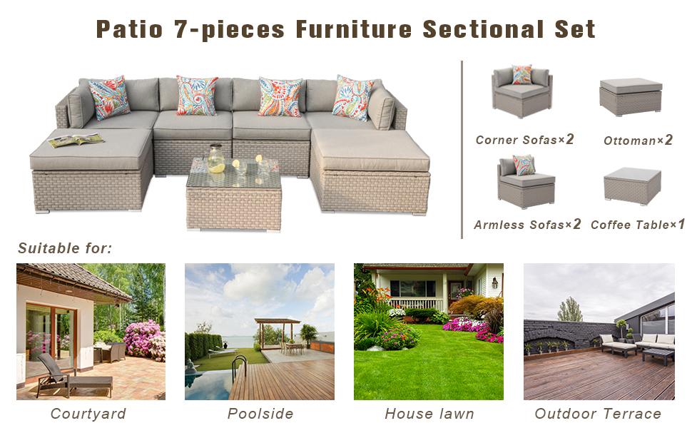 bannerpool furniture balcony furnishings garden couch porch brown rattan conversation sets backyard