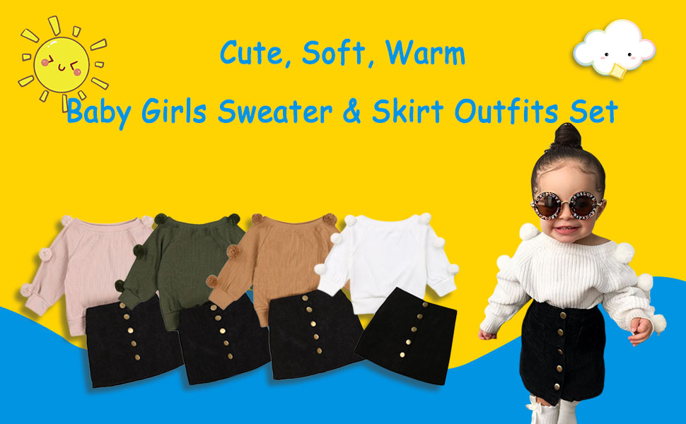 Fall Toddler Girl Outfits Sweater Skirt Set