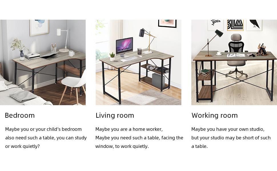 "SEATZONE 47""  Small Desk Study Writing Corner Desk with Bookshelf"