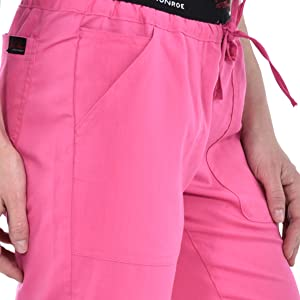 Close-up of layered side pockets on MediChic Marilyn Monroe MM1301 women's scrub pant
