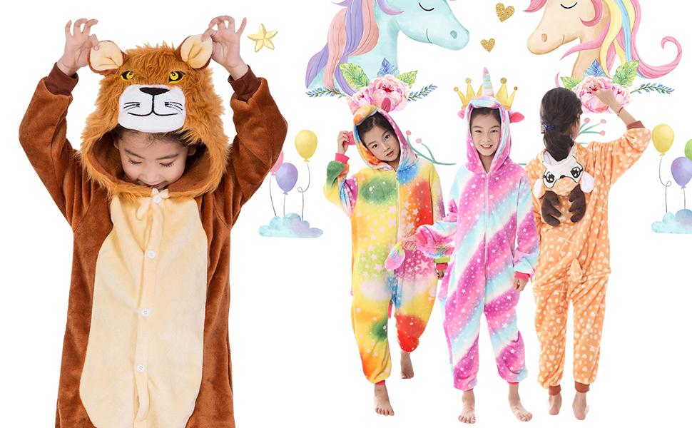YAOMEI Niños Onesies Kigurumi Pijamas, Niña Traje Disfraz Capucha ...