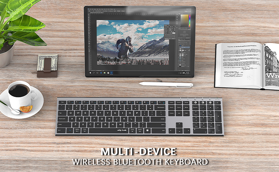 multi device wireless bluetooth keyboard full size slim space gray 1219 (1)