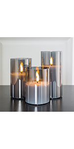 Glass flameless candles in grey