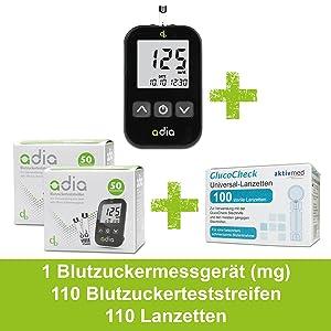 adia Diabetes Vorteilsset (Gerät mg + 100 Teststreifen + 100 Lanzetten)
